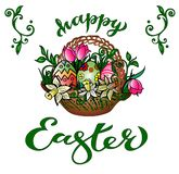 Greeting Card `Happy Easter` With Handwritten Congratulation royalty free illustration
