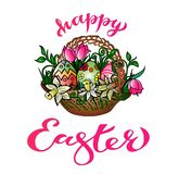 Greeting Card `Happy Easter` With Handwritten Congratulation vector illustration