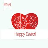 Greeting card Happy Easter,  inscriptions on a white. Two bright red Easter eggs on a light blue background Stock Photo