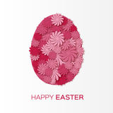 Greeting card with Happy Easter - with pink flower Easter Egg on white background. Stock Image