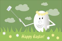Greeting card Happy Easter. Smiling white egg in a wreath of yellow flowers makes self, green background Royalty Free Stock Photos