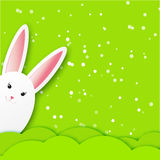 Greeting card with Happy Easter - with white Easter rabbit. Royalty Free Stock Images