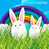 Greeting card with Happy Easter - with white Easter rabbit. Stock Image