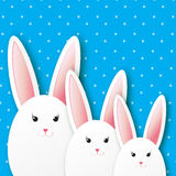 Greeting card with Happy Easter - with white Easter rabbit. Stock Photos