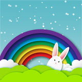 Greeting card with Happy Easter - with white Easter rabbit. Stock Images
