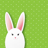 Greeting card with Happy Easter - with white Easter rabbit. Royalty Free Stock Image