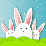 Greeting card with Happy Easter - with white Easter rabbit. Royalty Free Stock Photos