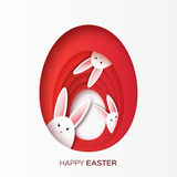 Greeting card with Happy Easter - with white paper Easter rabbit. Royalty Free Stock Photo