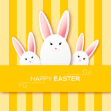Greeting card with Happy Easter - with white paper Easter rabbit. Royalty Free Stock Photography