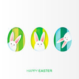 Greeting card with Happy Easter - with white paper Easter rabbit. Stock Image