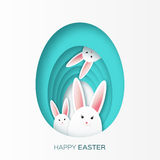 Greeting card with Happy Easter - with white paper Easter rabbit. Royalty Free Stock Images