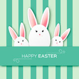 Greeting card with Happy Easter - with white paper Easter rabbit. Stock Photography