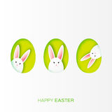 Greeting card with Happy Easter - with white paper Easter rabbit. Royalty Free Stock Photos