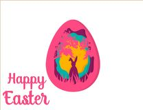 Greeting card with Happy Easter . Easter Bunny. Easter Egg paper art. Greeting card with Happy Easter - with white paper Easter rabbit. Funny Bunny. Easter Bunny Royalty Free Stock Images