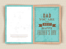 Greeting card for Happy Father's Day celebration. Stock Photo