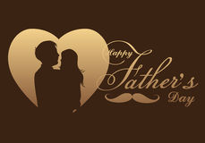Greeting card Happy Father`s Day, silhouette of a father holding Daughter. Vector illustration royalty free illustration