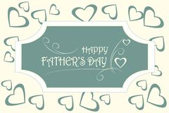 Greeting card Happy Father's day. White typing on dark blue background, hearts on light beige Stock Image