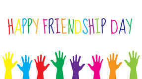 Greeting card with a happy friendship day. Greeting card colorful hands. Vector illustration Royalty Free Stock Photos