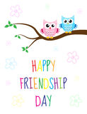 Greeting card with a happy friendship day. Greeting card cute cartoon owl sitting on a tree. Vector illustration Royalty Free Stock Photo