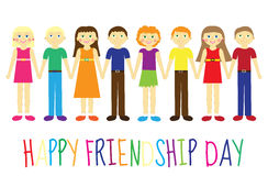 Greeting card with a happy friendship day. Greeting card cute kids, cartoon holding hands. Vector illustration Stock Photos