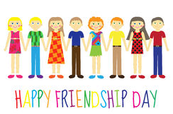 Greeting card with a happy friendship day. Greeting card cute kids, cartoon holding hands. Vector illustration Stock Photography