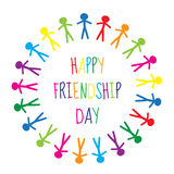 Greeting card with a happy friendship day. Greeting card people holding hands, circle. Vector illustration Stock Image