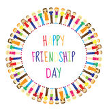 Greeting card with a happy friendship day. Greeting card people holding hands, circle. Vector illustration Stock Images
