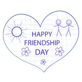 Greeting card with a happy friendship day. Greeting heart hand drawing style. Vector illustration Stock Photo