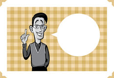 Greeting card with happy geek man Stock Photo