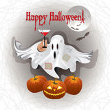 Greeting card Happy Halloween with gost. Greeting card cute Halloween ghost and pumpkins Royalty Free Stock Images