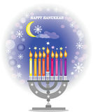 Greeting card,happy hanukkah,. Holiday background,menorah and candles on the blue background Royalty Free Stock Images