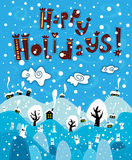 Greeting card Happy Holiday Stock Photos