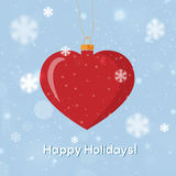 Greeting card Happy Holidays with heart decoration. Snow vector illustration