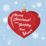 Greeting card Happy Holidays with heart decoration. Snow Stock Image