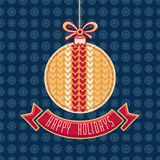 Greeting Card Happy Holidays  Vector. Ball Form Stock Photography