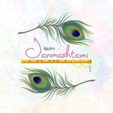 Greeting card for happy Janmashtami. Happy Janmashtami. Greeting card for Krishna Janmashtami. Indian fest - celebrating birth of Krishna. Template for creative Stock Images