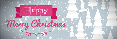 Greeting card of happy Merry Christmas. Fir-tree, snow, banner, text. Vector Royalty Free Stock Photo
