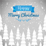 Greeting card of happy Merry Christmas. Fir-tree, snow, banner Stock Photography
