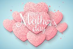 Greeting card on Happy Mother`s Day. Brilliant hearts from pink glitters on a light blue background. Luxury background. Confetti. Calligraphic text. Love stock illustration