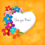 Greeting card on a happy mothers day. Color paper 3d flowers in Royalty Free Stock Photography