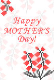 Greeting card Happy Mother's Day with flowers. Embroidery. Cross stitch Royalty Free Stock Photo