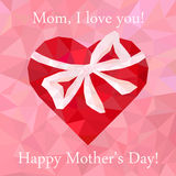 Greeting card Happy Mother's Day with heart Royalty Free Stock Photography