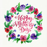 Greeting card Happy Mother`s Day with pansy flowers wreath and lettering. Watercolor card on textured paper Royalty Free Stock Images