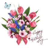 Greeting card happy Mothers day with a bouquet of pink. Tulips, cherry blossoms with blue butterfly. Template for birthday cards, Valentines day card spring Royalty Free Stock Photography