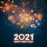 Greeting card Happy New Year 2021. Beautiful Square holiday web banner or billboard with text Happy New Year 2021 on the