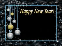 Greeting card happy new year. Blue frame and gold lettering Royalty Free Stock Photos