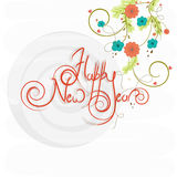 Greeting card for Happy New Year celebration. Colorful flowers decorated greeting card design for Happy New Year celebration Stock Photo
