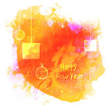 Greeting card for Happy New Year celebration. Happy New Year celebration greeting card design with creative hanging gifts and Xmas Balls on colorful splash Stock Photos