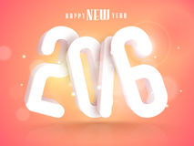 Greeting card for Happy New Year 2016 celebration. Greeting card design with glossy 3D text 2016 on shiny colorful background for Happy New Year celebration Stock Image