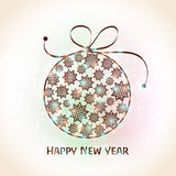 Greeting card for Happy New Year 2015 celebration. Happy New Year 2015 celebration greeting card design with shiny Xmas Ball decorated by stars on shiny stock illustration